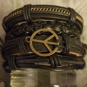 (4) Handmade Leather Bracelets NWOT